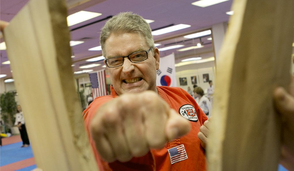 Moline Taekwondo 7th Degree Master Duane Spellious, 55, is back at the Dojang after 2 successful total hip replacements at ORA Orthopedics.